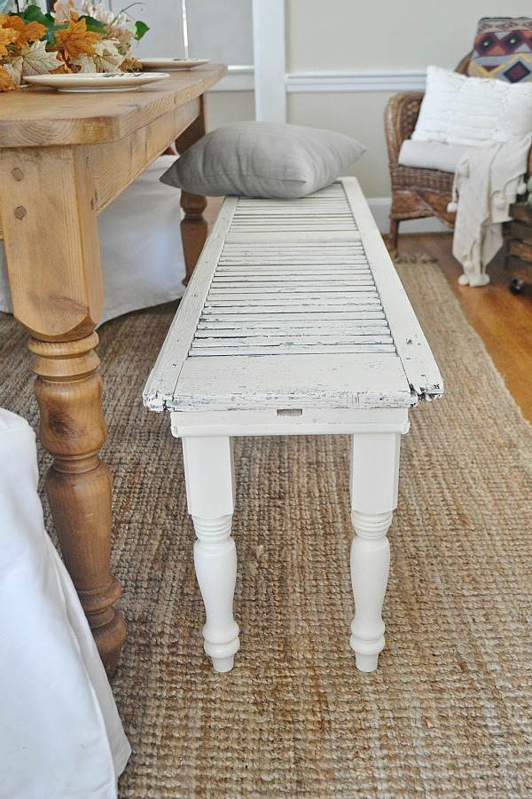 DIY rustic shutter bench lizmarieblogcom DIY