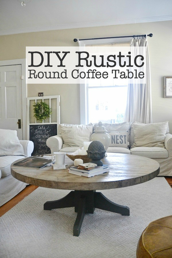DIY round coffee table - Turn a dining room table into a coffee table!