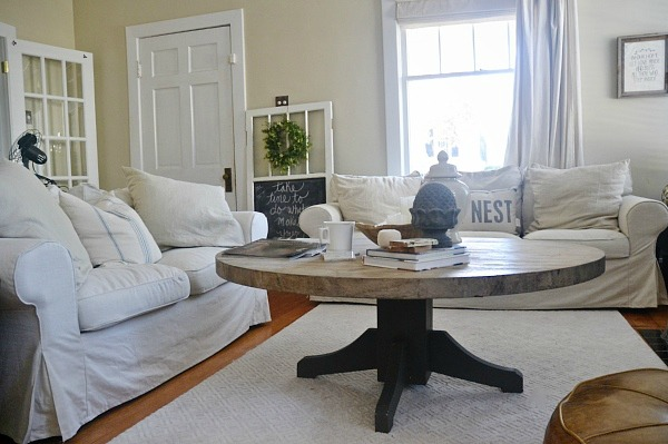 DIY Round Coffee Table - Liz Marie Blog
