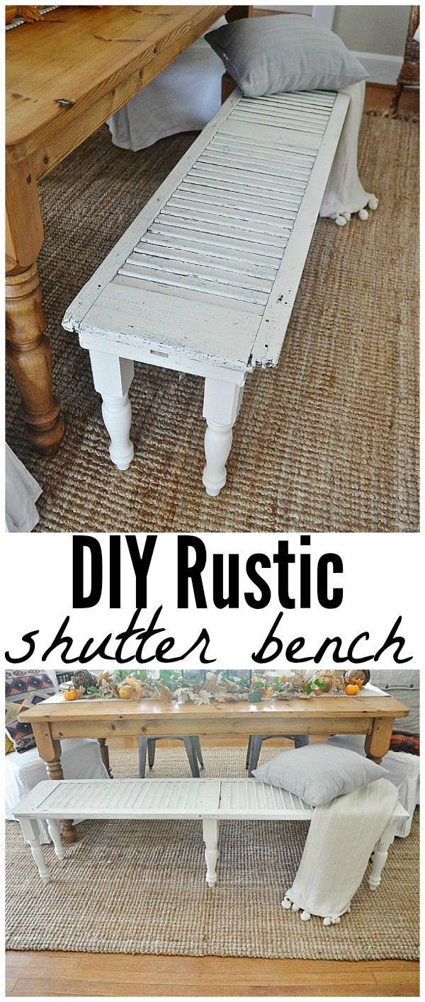DIY rustic shutter bench - Super easy to make!