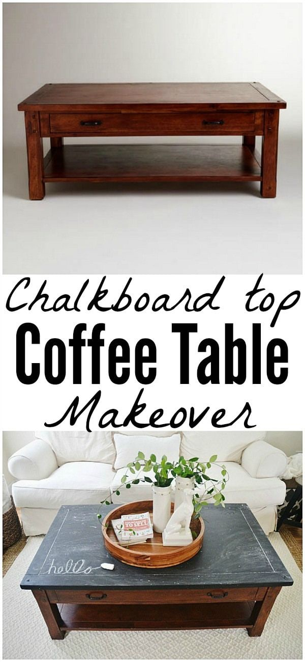 Chalkboard top coffee table makeover - An easy way to give a table a complete makeover!