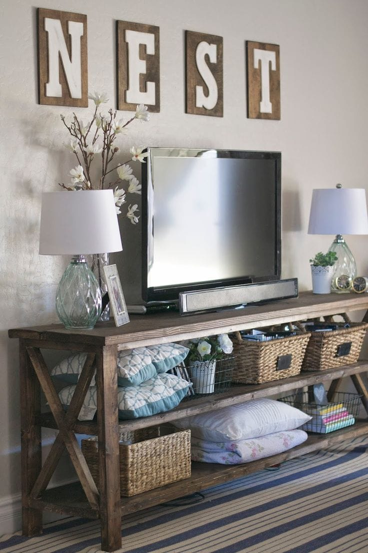 how to decorate around a tv - liz marie blog
