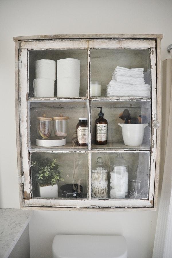 diy bathroom storage. DIY Antique Window Cabinet- See How To Make This Super Easy Cabinet. Diy Bathroom Storage D