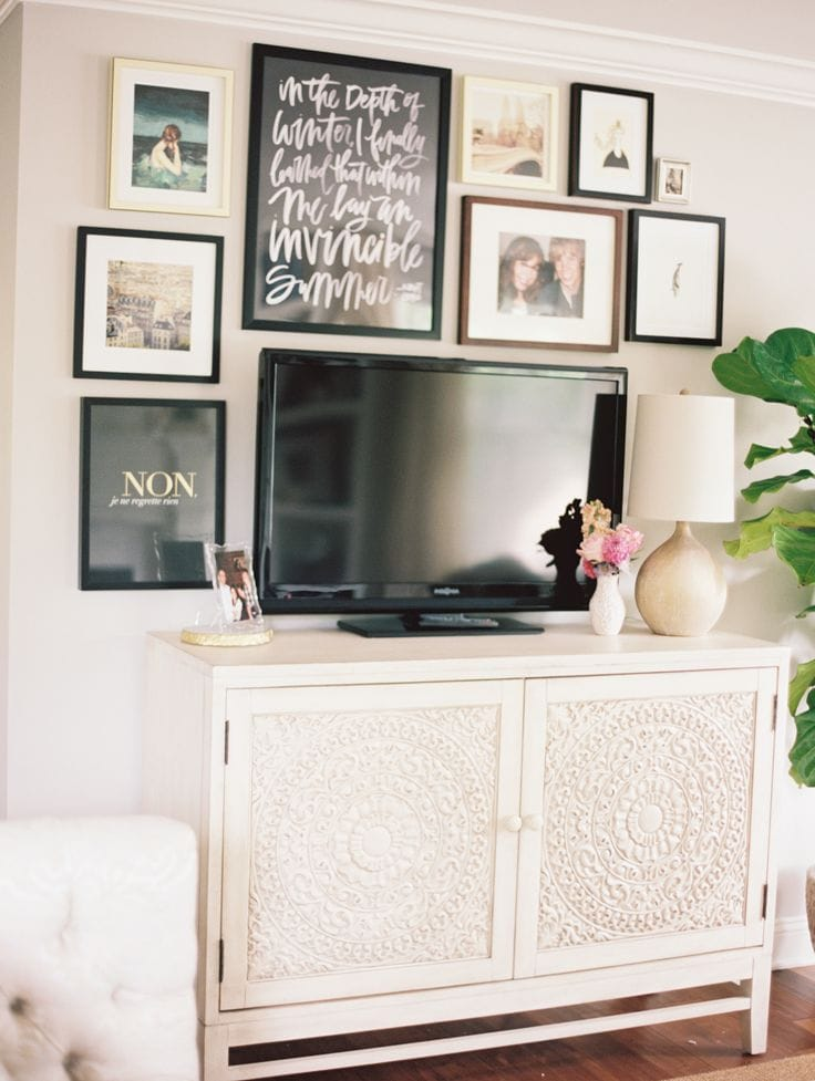 How to decorate around a tv liz marie blog What can i put on my sideboard