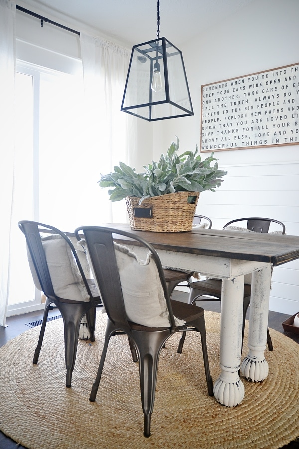 Rustic Metal U0026 Wood Dining Chairs With A Farmhouse Table.