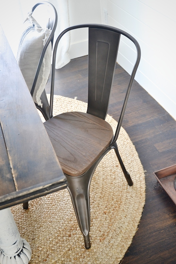 Spectacular Rustic metal u wood dining chairs with a farmhouse table