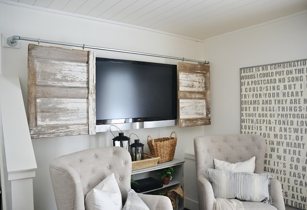 Industrial Pipe Sliding Barn Door Tv Cover Liz Marie Blog