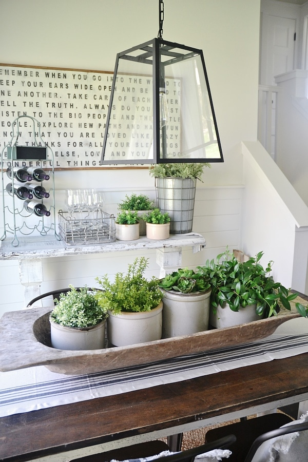 So Many Ways To Go Green Even The Kitchen Island: Simple Stone Crock Centerpiece
