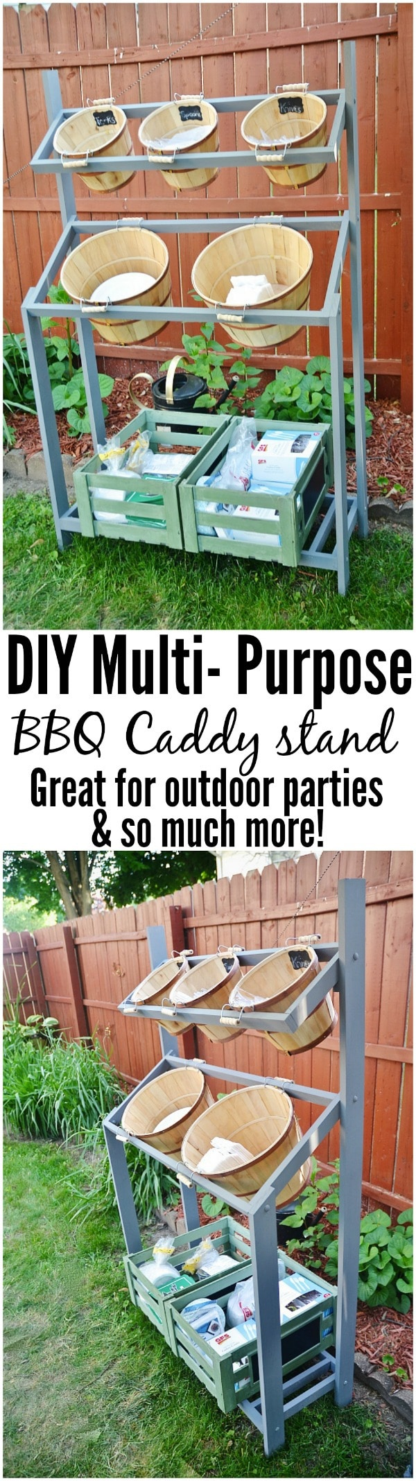 DIY BBQ Caddy Stand - Seriously the BEST thing to make for any backyard parties. A great spot for all your forks, knives, spoons, napkins, paper plates, drinks, & extra storage for reloading through out the party. Great for graduation parties, weddings, backyard bbq's, & so much more! Would also be great for a farm stand, flowers, plant stand, outdoor bar, & so much more! easy to build with step by step instructions!
