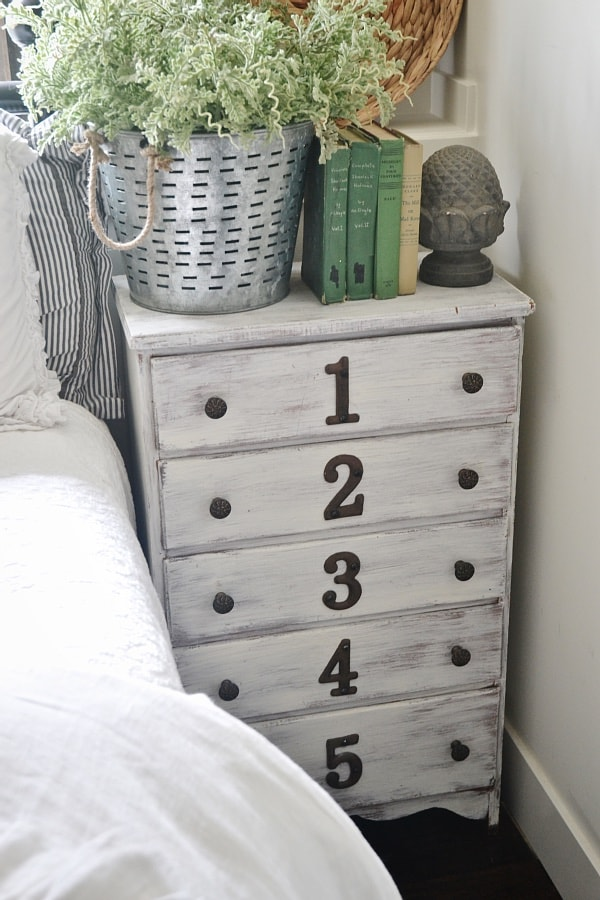 Rustic Numbered Dresser nightstand Liz Marie Blog