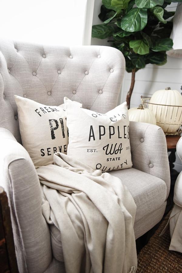 Cozy Neutral Living room - handmade neutral pillows