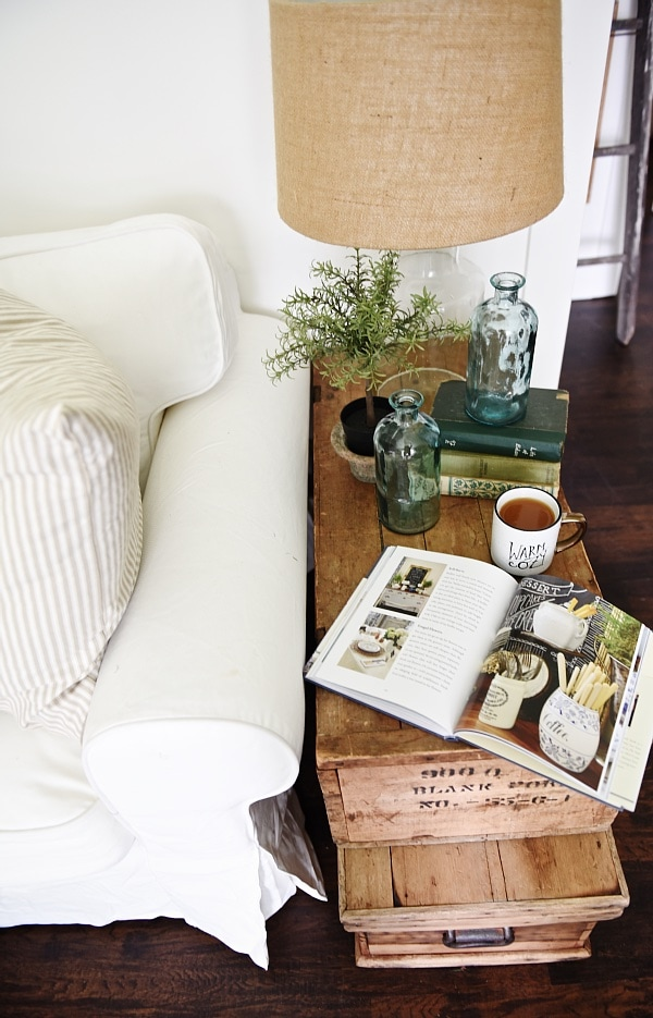 Living Room Makeover - Stacked Trunk End Table - Liz Marie Blog