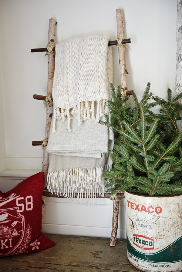 DIY Blanket ladder - See how to make this blanket ladder out of birch logs that you can find right at your craft store. So simple to make!