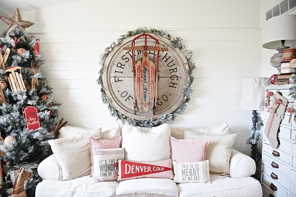 cottage style christmas living room lovely rustic pops of red with vintage sleds flocked - Vintage Sled Christmas Decoration