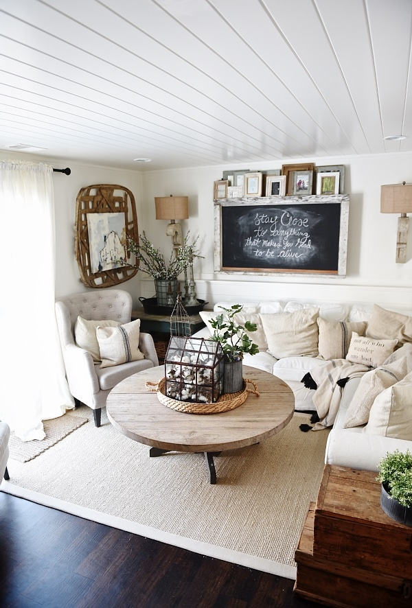 Cozy Neutral Farmhouse Style Living Room   With Ikea Ektorp Sectional. Cozy  Cottage Style Vibe