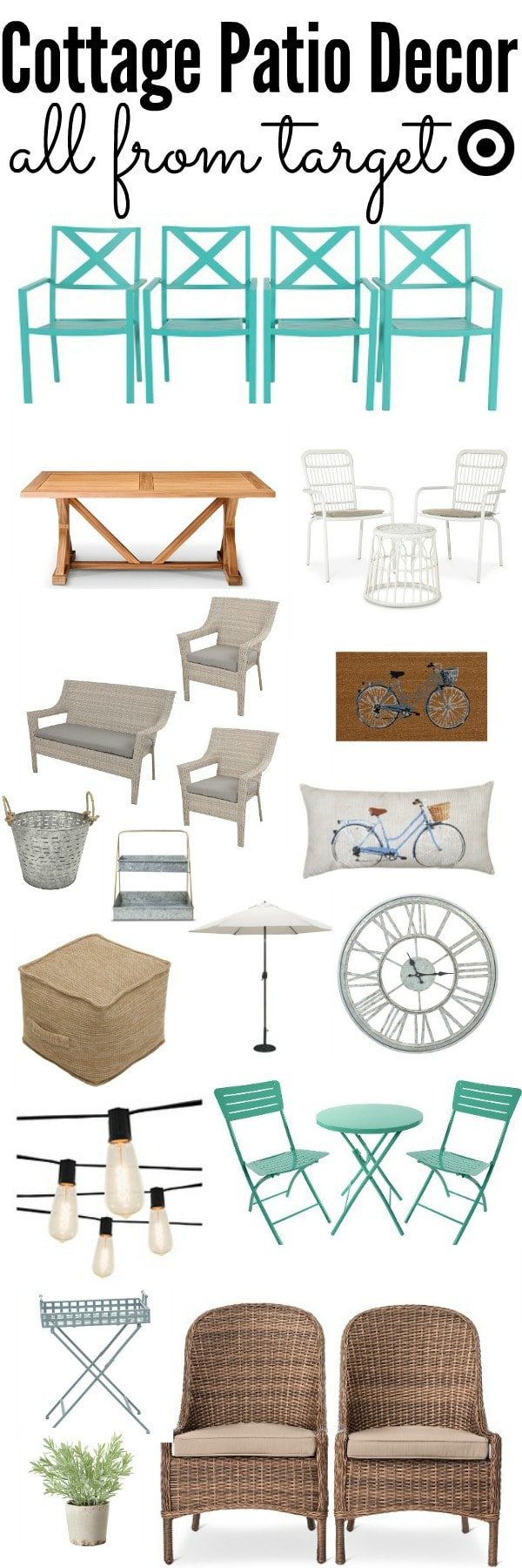 cottage style patio decor - cozy rustic style patio decor all from Target at an affordable price. A great pin for spring & summer patio decor!!