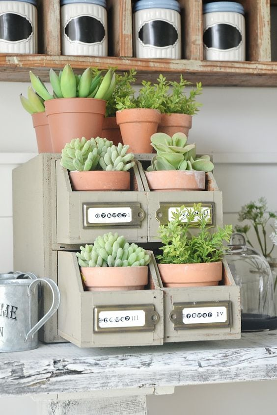 DIY succulent card catalog drawer - A great way to plant a succulent garden & so easy to make!!