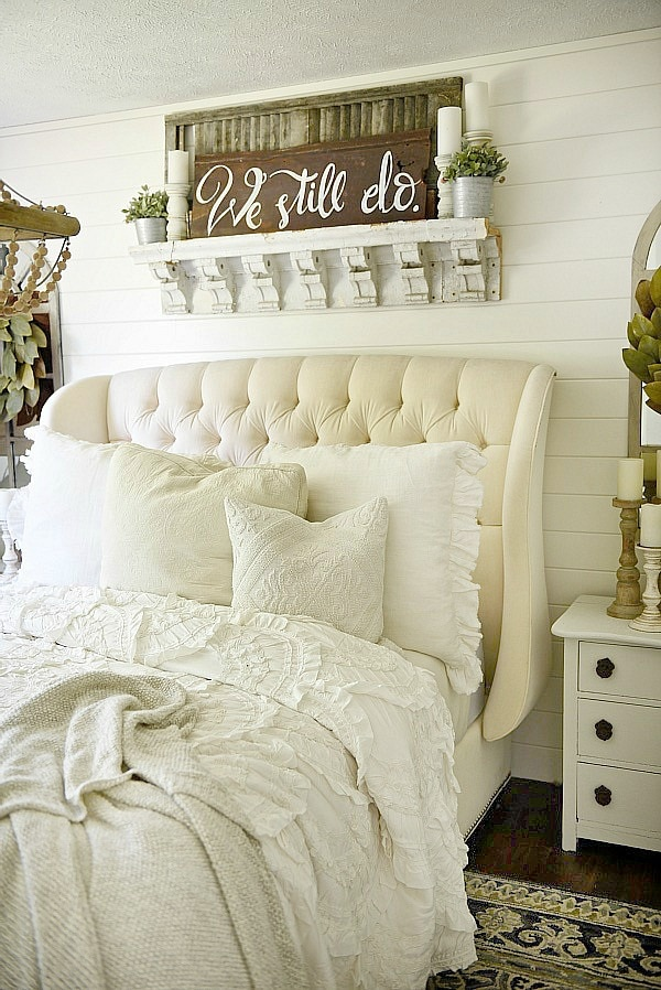 Farmhouse bedroom makeover liz marie blog Master bedroom art above bed