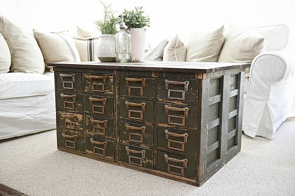 Marvelous Rustic Green card catalog coffee table A great source for farmhouse decor