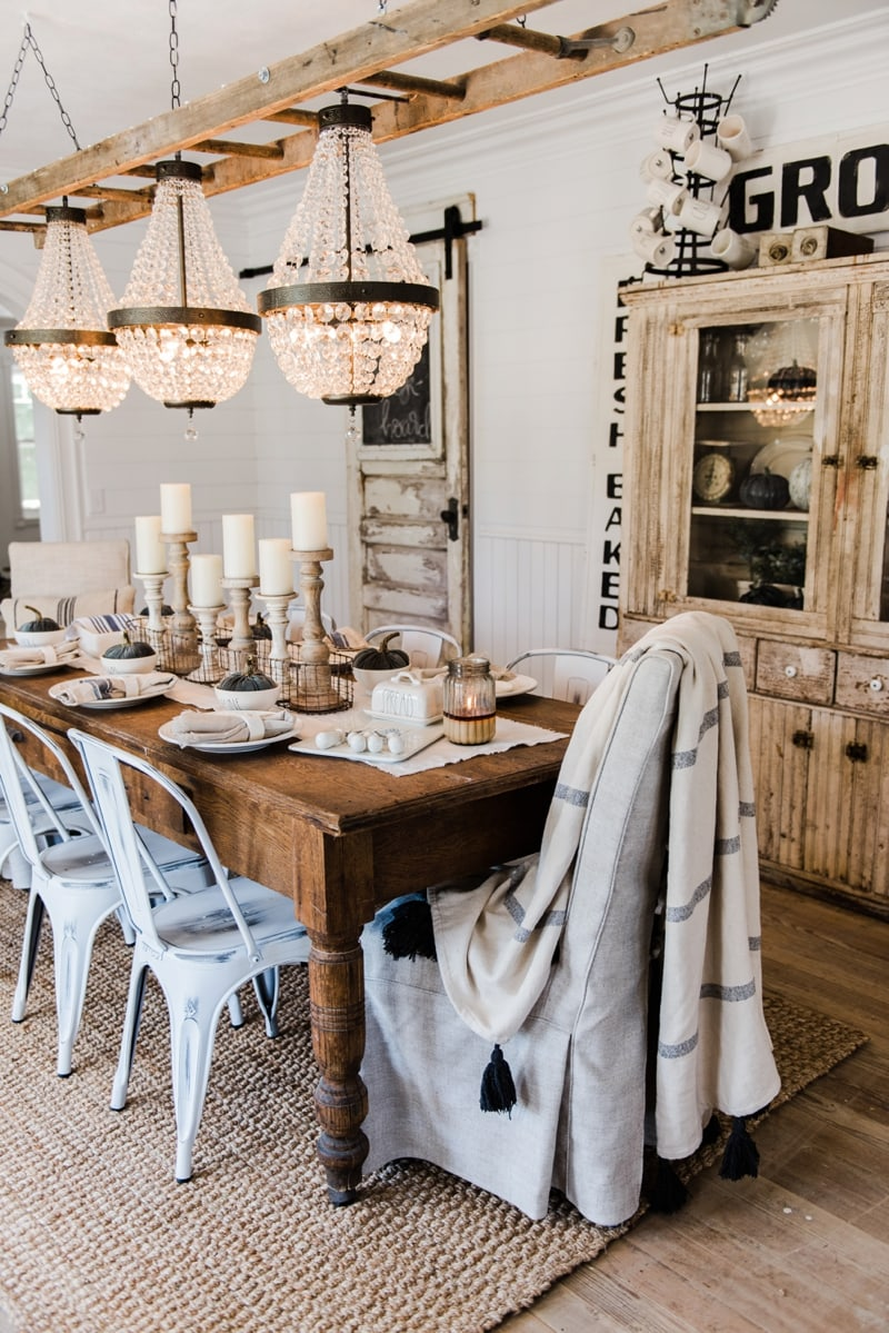 Simple neutral fall farmhouse dining room liz marie blog for Simple dining room table decor