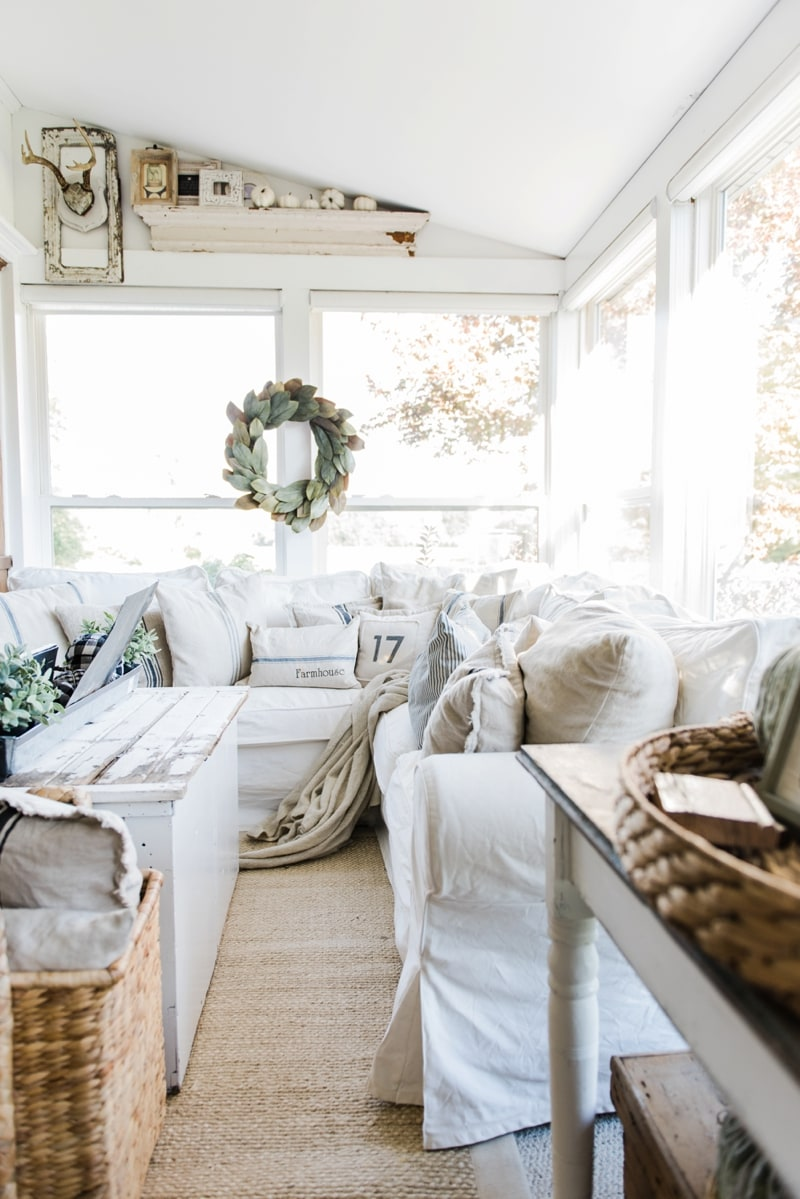 Cozy farmhouse fall sunroom liz marie blog for Downlight design living room