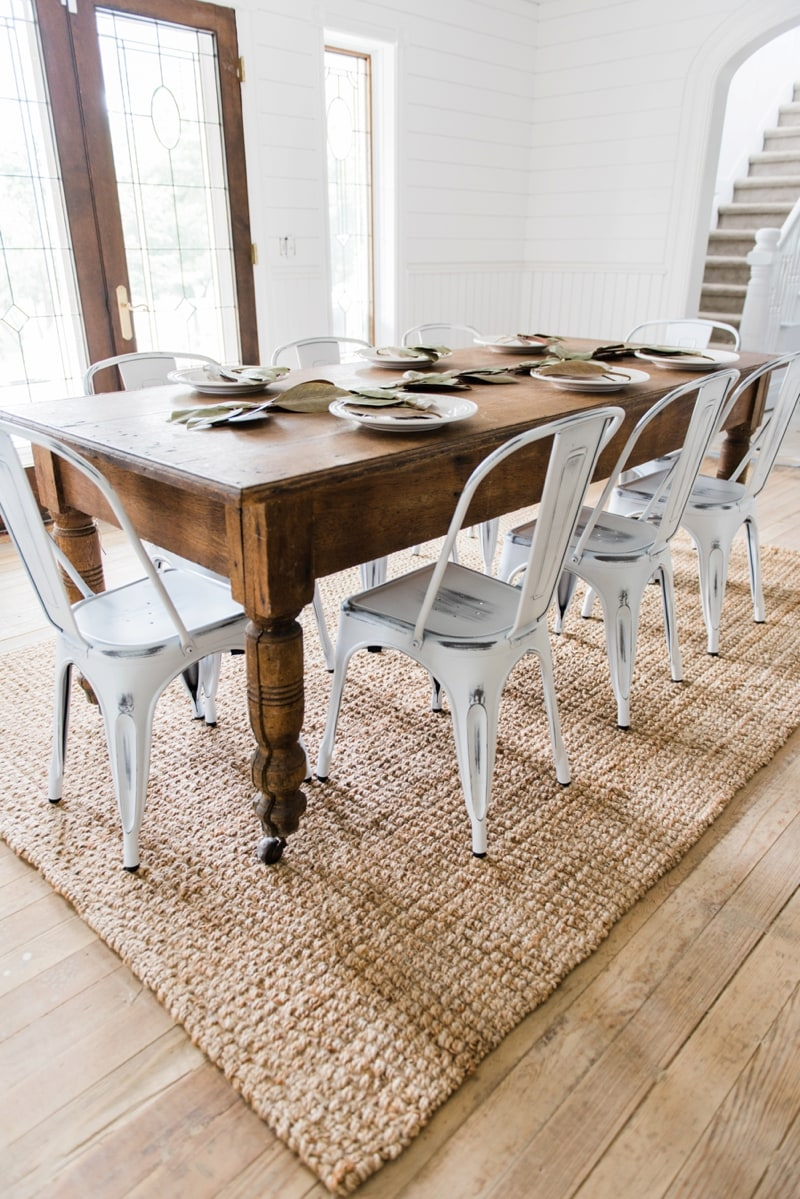 New White farmhouse Metal Chairs Dining Room Decor by Liz Marie Blog Farmhouse dining room