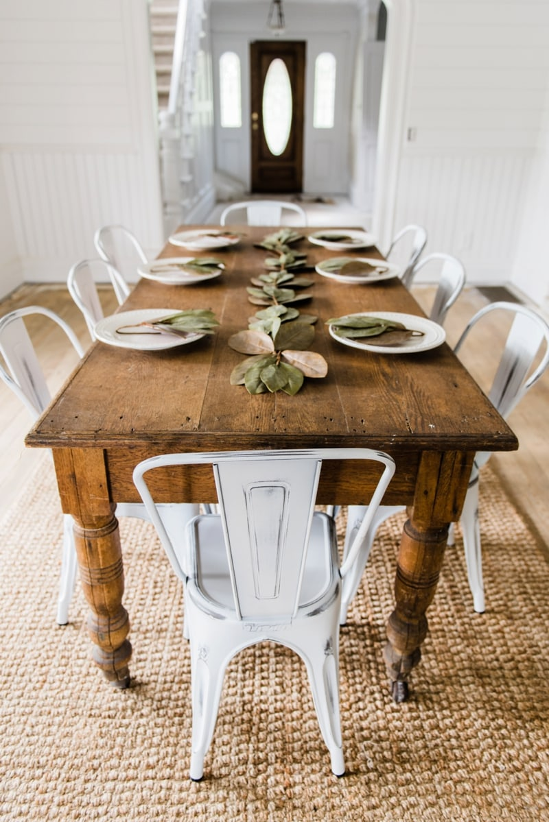 White farmhouse Metal Chairs Dining Room Decor by Liz Marie Blog - Farmhouse dining room