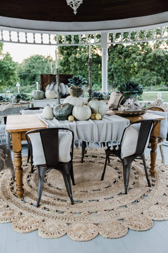 Neutral rustic farmhouse fall porch - fall in the gazebo