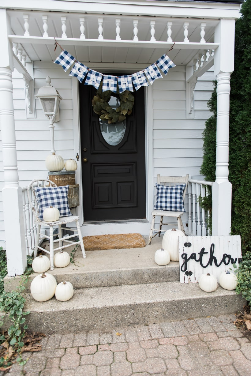 Buffalo Check Fall Decor On The Back Stoop & Simple Fall Stoop u0026 Front Door Makeover - Liz Marie Blog pezcame.com