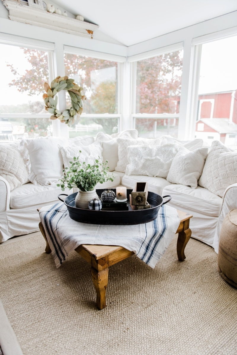 Awesome Farmhouse Style Coffee Table In The Sunroom   A Lovely Warm Wood Style  Coffee Table Style