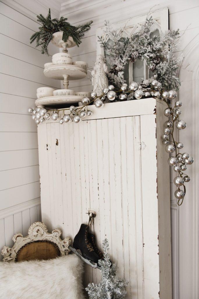 Farmhouse Christmas Cabinet Amp Rustic Santa