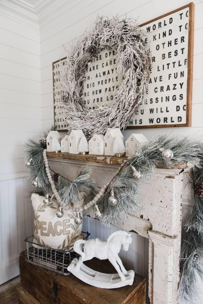 Farmhouse Christmas Village Mantel - Target dollar spot christmas village houses. A great rustic farmhouse mantel & christmas decor inspiration.