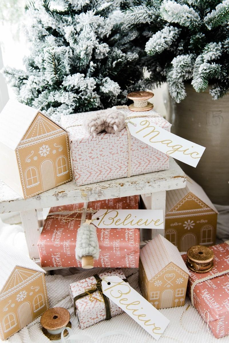 Farmhouse Style Gingerbread House Gift Wrap Liz Marie Blog