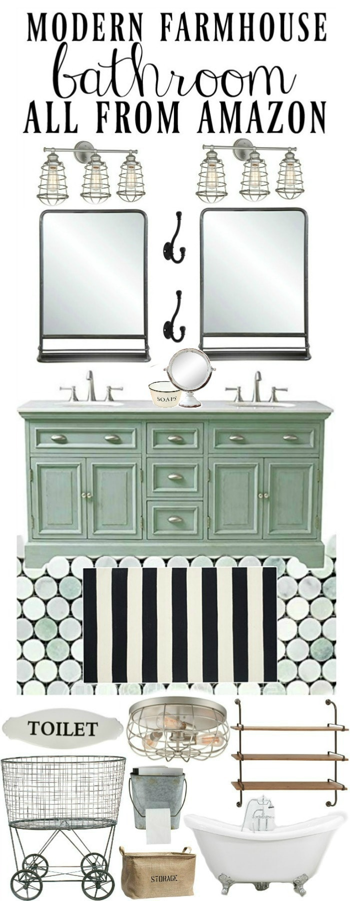 Modern farmhouse bathroom design - All from Amazon!