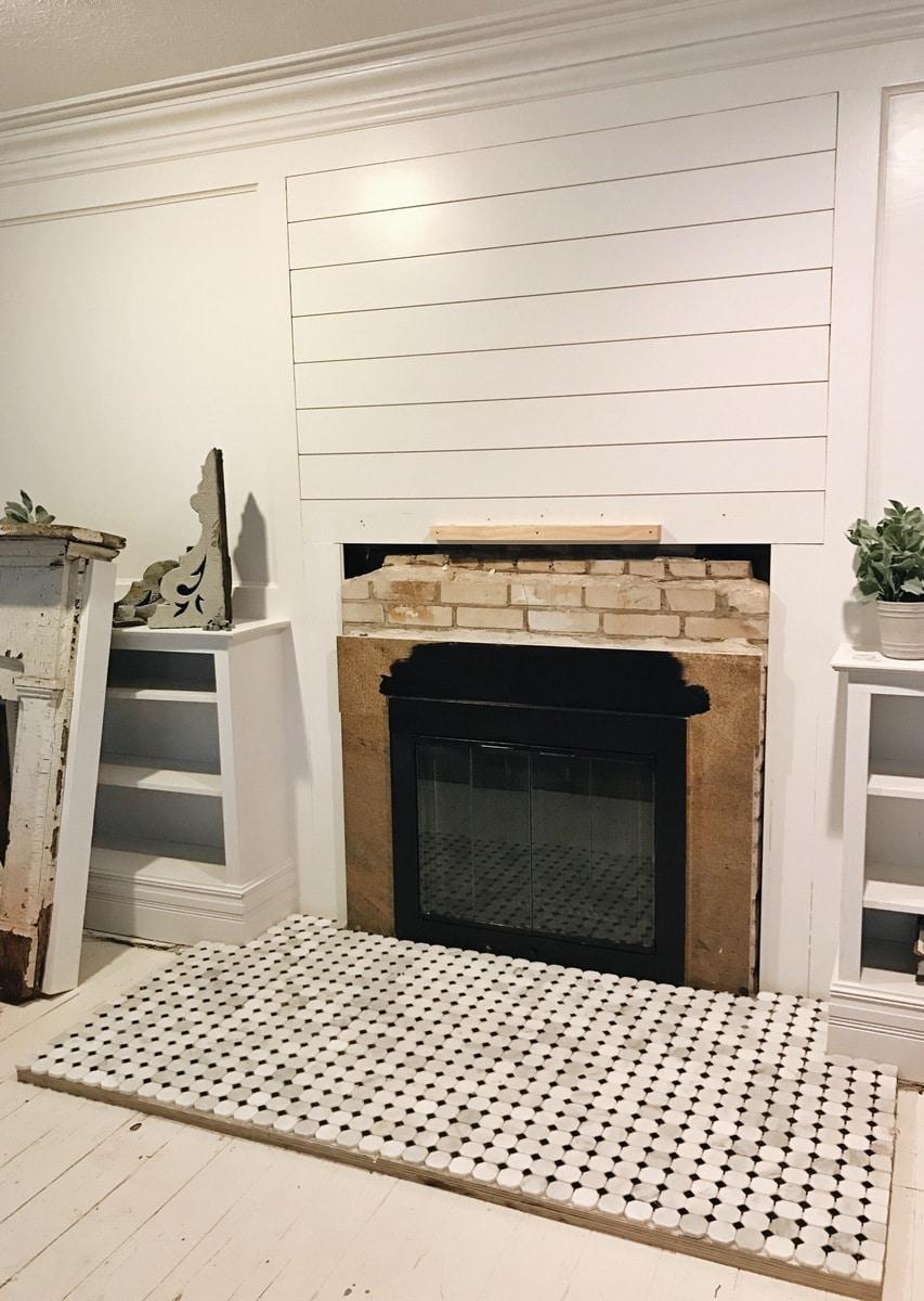 Front Living Room Fireplace Tile Progress Liz Marie Blog