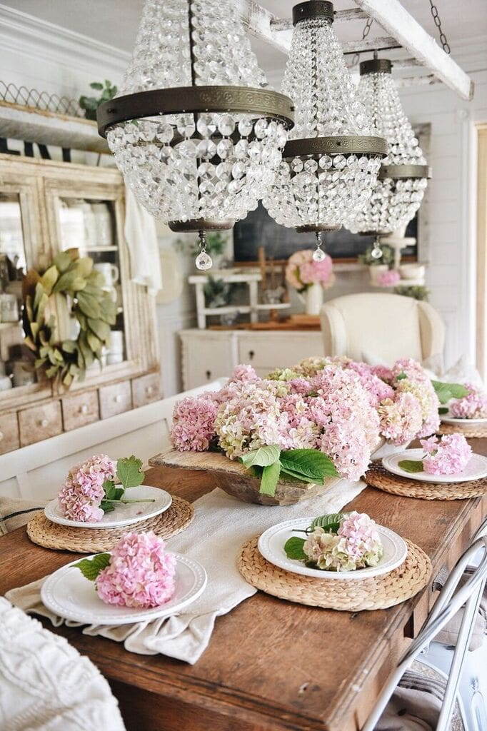 I Went Out And Gathered Some Hydrangeas From Our Yard Didnt Even Get Half Of One The Bushes Trimmed Already Had Too Many To Fit On Dining Room