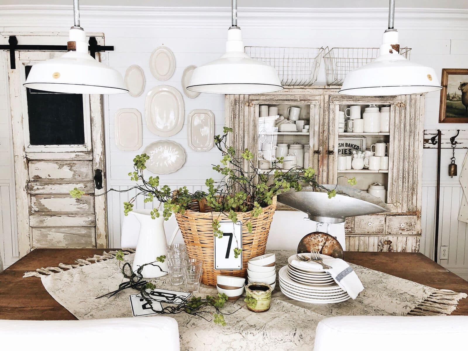Spring Basket Centerpiece - Farmhouse Spring Tablescape - Liz Marie Blog
