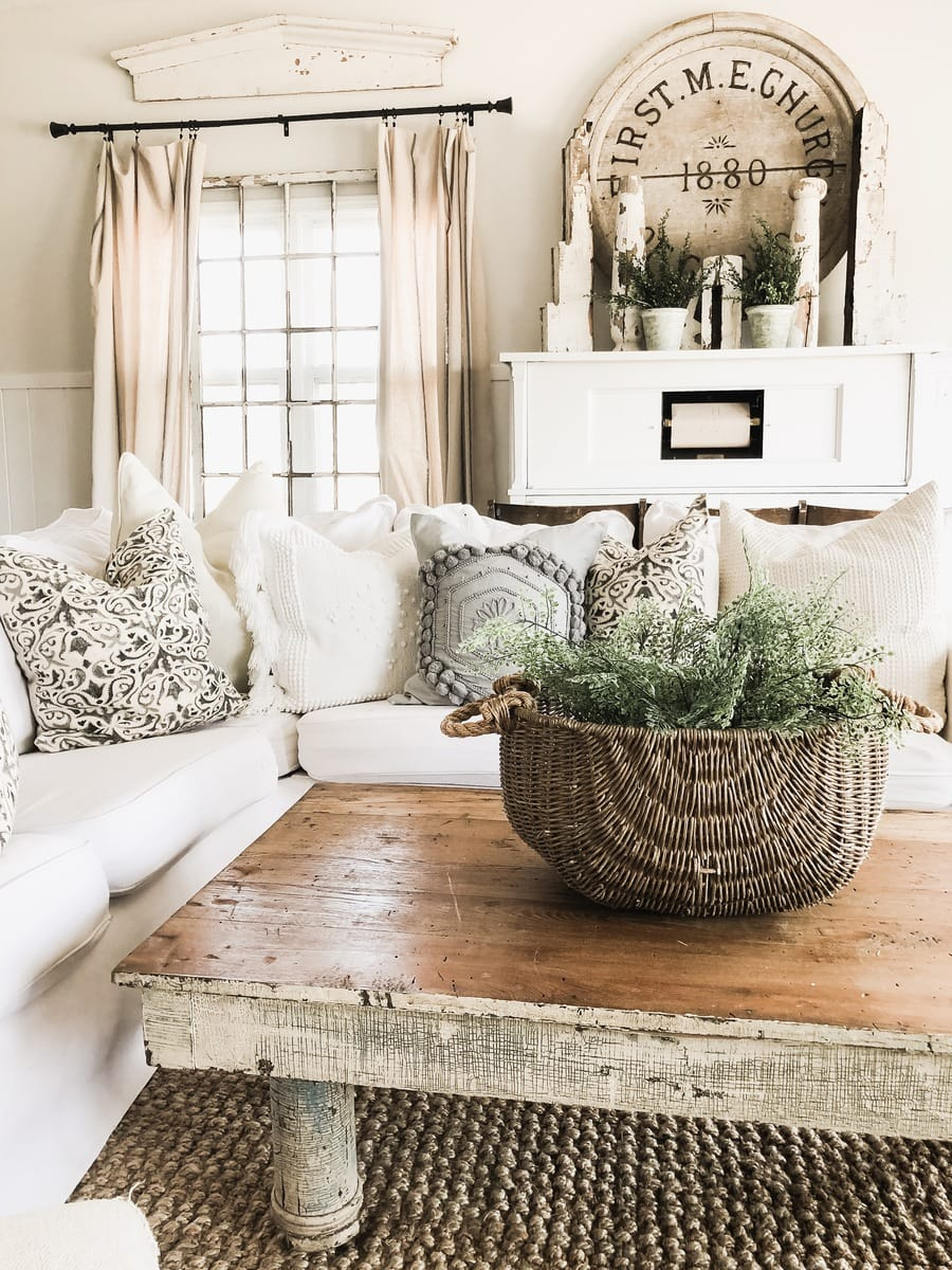For This One In Our Back Living Room On The Coffee Table I Simply Put Two  Potted Ferns From Pottery Barn Inside This Basket That Is Also From Pottery  Barn ...