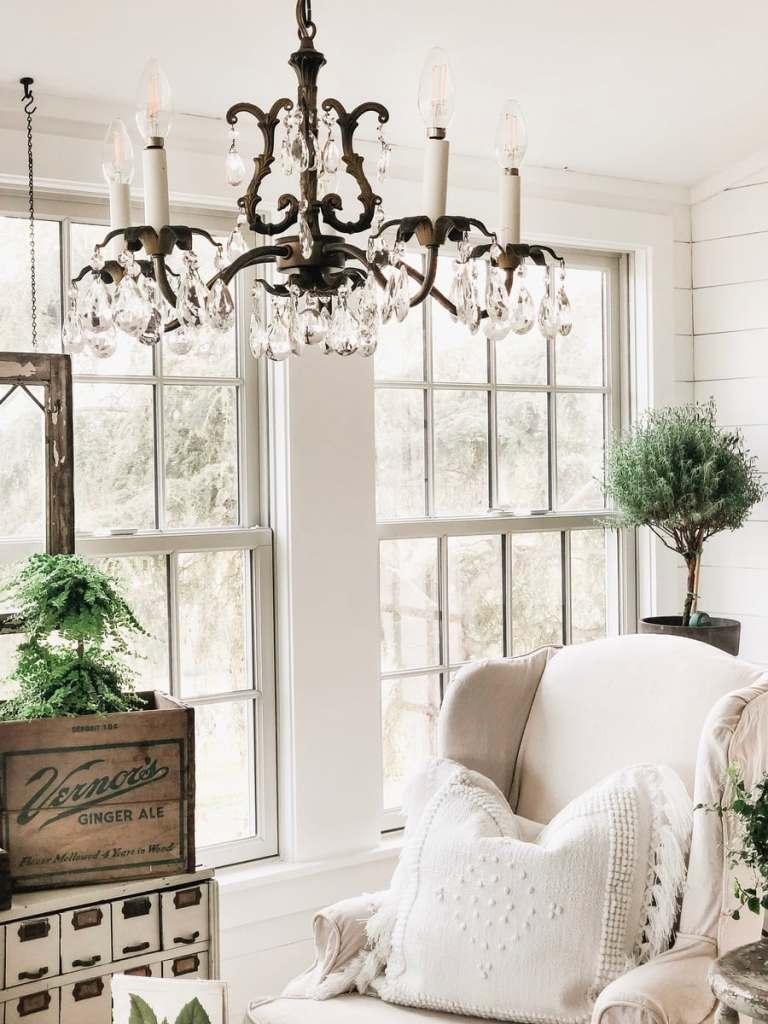 Vintage Chandelier in Sunroom