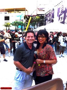 Trivia Contest Winner Bill Tuger with Liz Reyes Fox 8 News