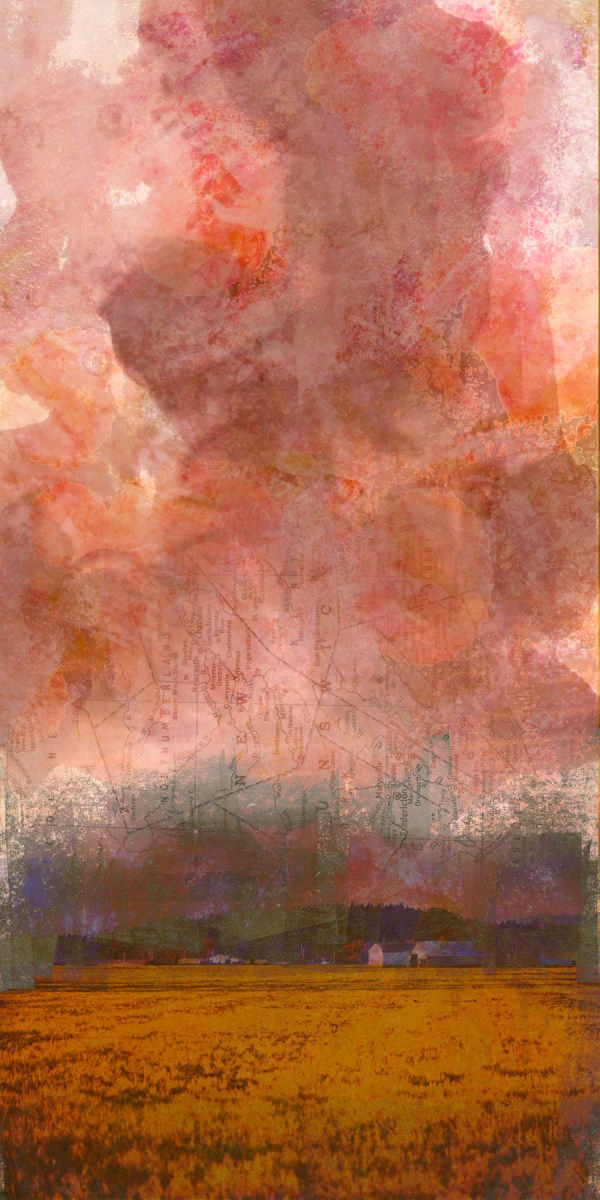 mingled with grief: Digital collage, 27 layers © 2020 Liz Ruest