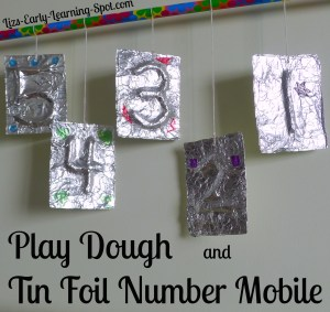 Play dough and tin foil number mobiles (Liz's Early Learning Spot)