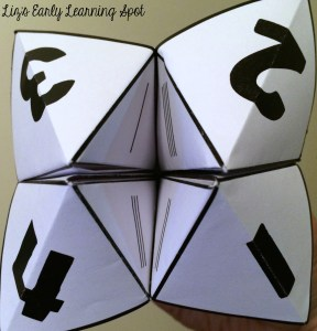 Learning numbers when you only have a minute using free Cootie Catchers from Liz's Early Learning Spot