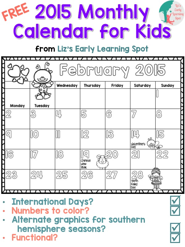 2015 free monthly calendar for kids