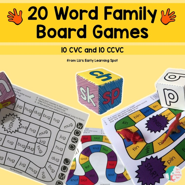 Fun and engaging word family board games!