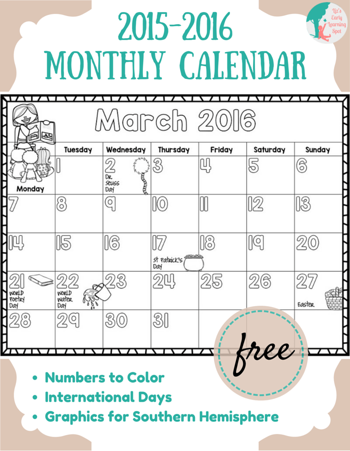 April Calendar S Kindergarten : Free  monthly calendar for kids liz s early