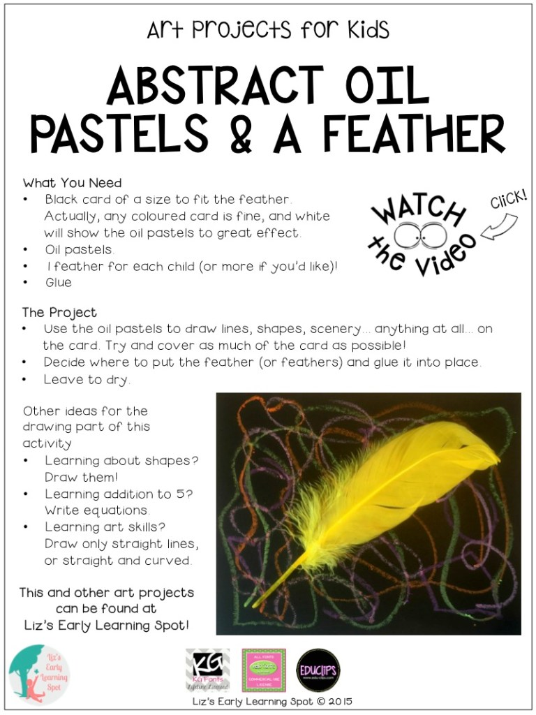 Create this oil pastel and feather artwork and make it as abstract or academic as you like!