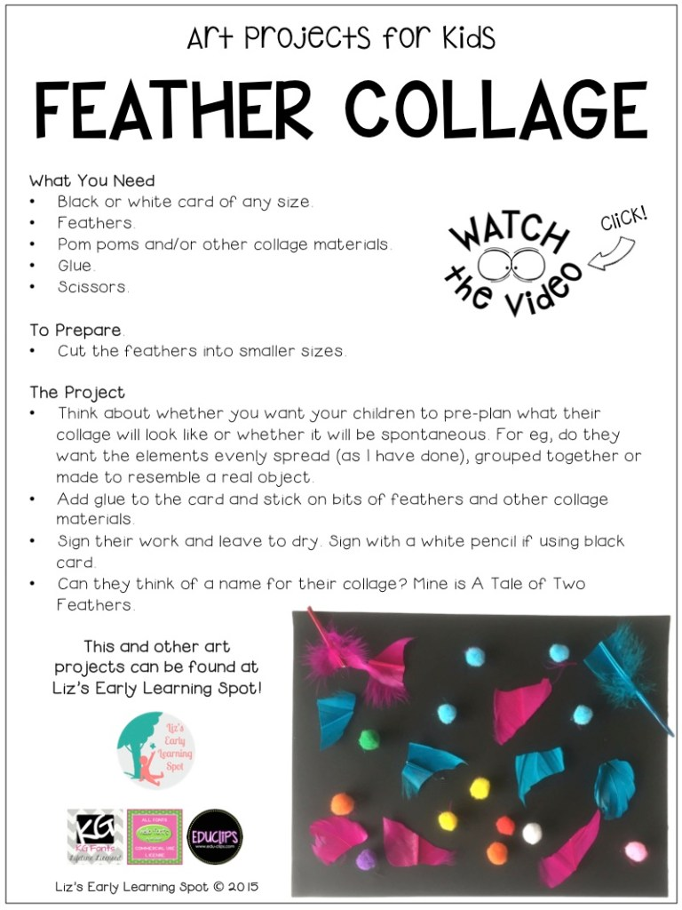 Make a bright and happy feather collage with your child! Check out the 30 second video, too!