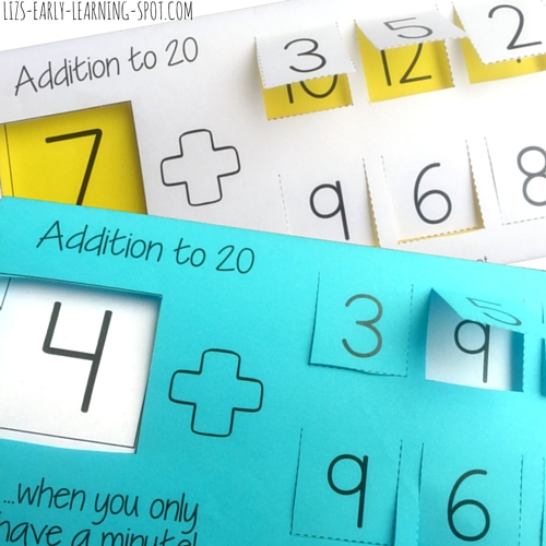 Free printable for practicing addition to 20.