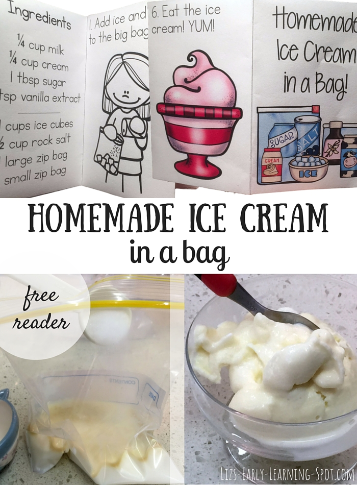Homemade ice cream in a bag lizs early learning spot grab your free 8 page tiny reader for homemade ice cream ccuart Images